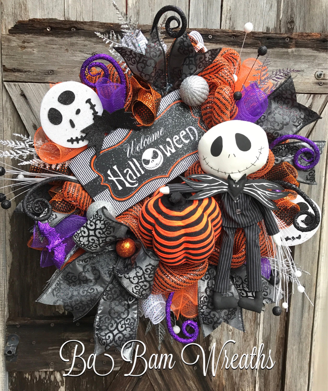 Jack Skellington Wreath Halloween Wreath Halloween Mesh Wreath Halloween Swag Nightmare Before Christmas Wreath