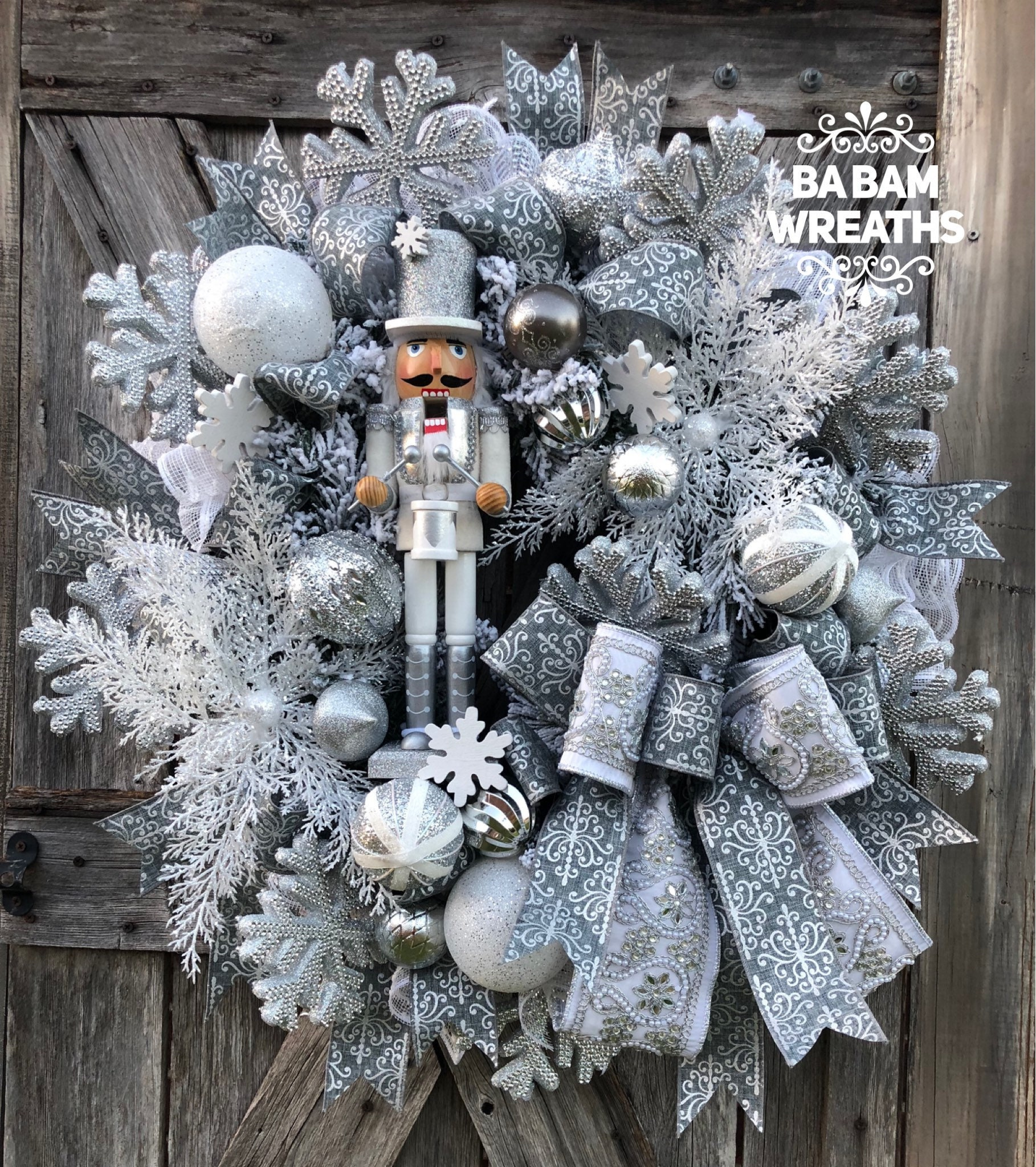Silver Christmas Wreath.Nutcracker White Silver Christmas Nutcracker Wreath