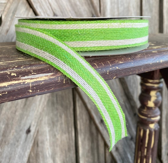 NonWired Ribbon ~ 7/8 Inch Ribbon ~ Jute  Green  Stripe Ribbon ~ 25 Yards
