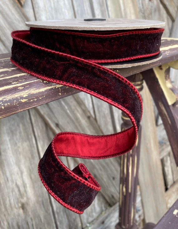 Wired Ribbon ~ 1 Inch Ribbon ~ Two Tone Burgundy   ~ 10 Yards
