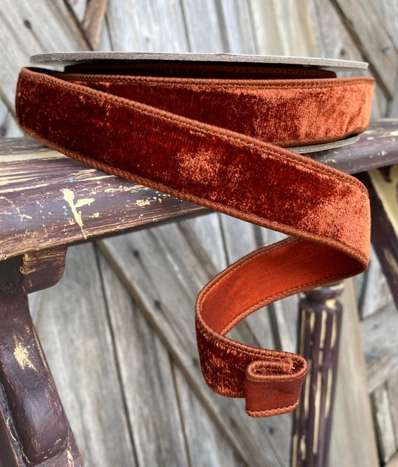 Wired Ribbon ~ 1 Inch Ribbon ~ Brown Rusty Velvet ~ 10 Yards