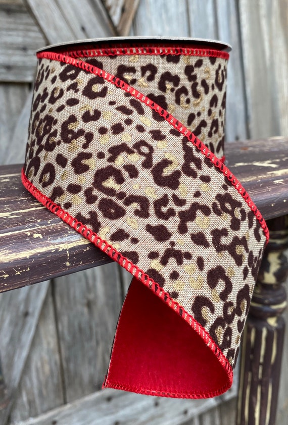 10 Yards, Wired Ribbon, 2.5 Inch Cheetah Red Trim