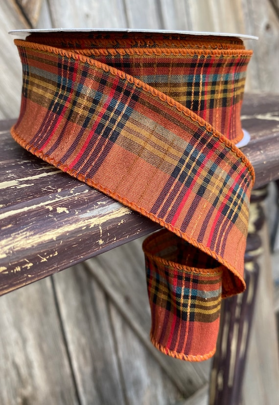 20 Yards, Wired Ribbon, Fall Plaid Threading