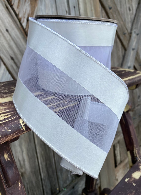 10 Yards, Wired Ribbon, 4 inch Two Tone Sheer Stripe Off White