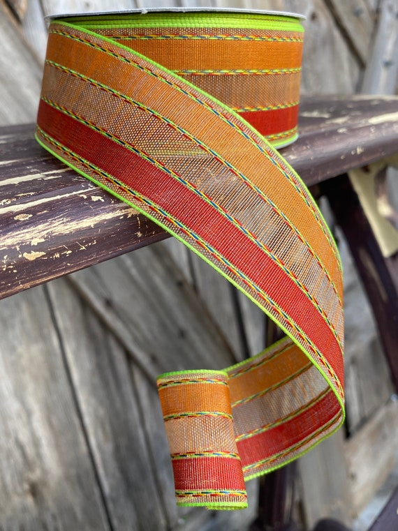25 Yards, Wired Ribbon, Fall Stripe with Green Threading