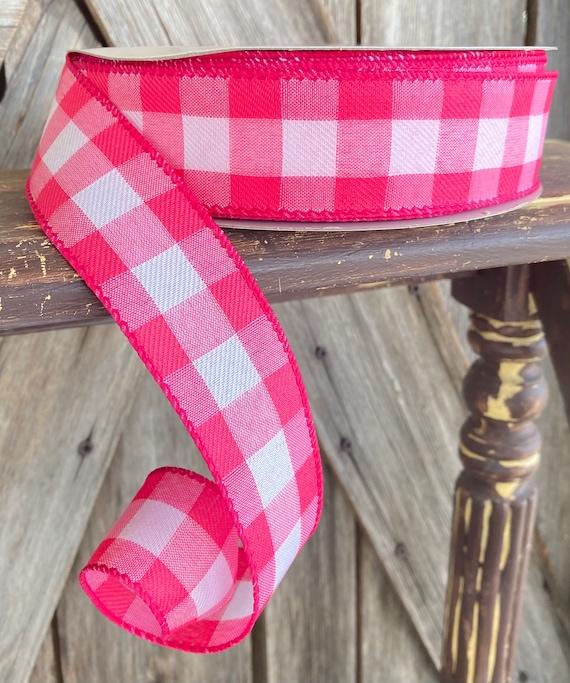 Wired Ribbon ~ 1.5 Inch Ribbon ~ Pink Gingham Ribbon ~ 50 Yards
