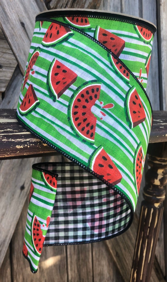 Wired Ribbon ~ 4 Inch Ribbon ~ Watermelon Stripe~ 10 Yards