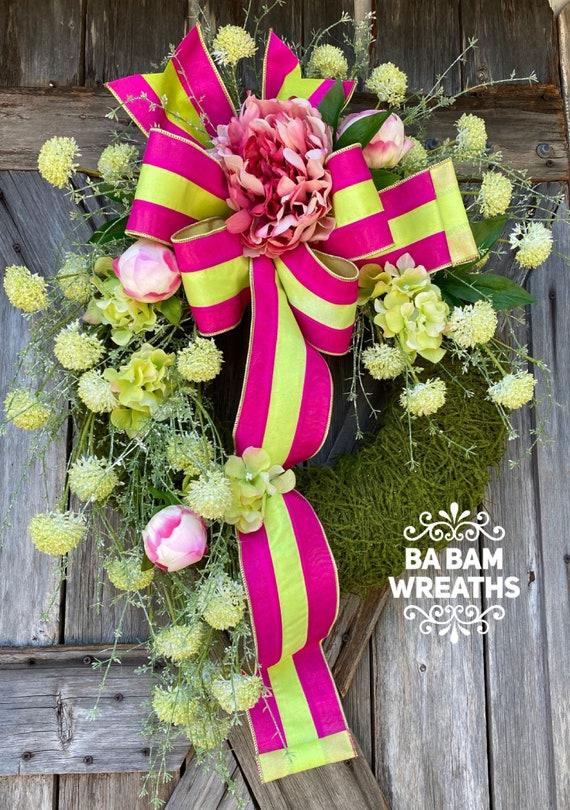 Summer Wreath, Front Door Wreath, Wedding Wreath, Floral Wreath, Pink Wreath