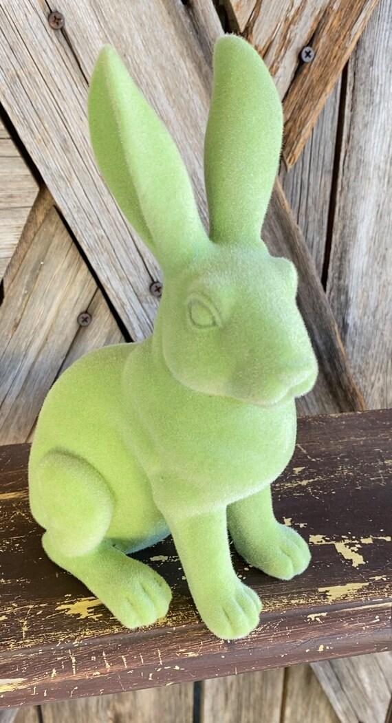 Resin Flocked Green Bunny , Wreath Supply