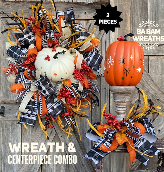 Halloween Wreath, Halloween Swag, Autumn Swag, Monster Wreath, Halloween Centerpiece
