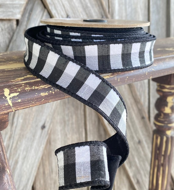 Wired Ribbon ~ 1.5 Inch Ribbon ~ Black Check Ribbon ~ 10 Yards