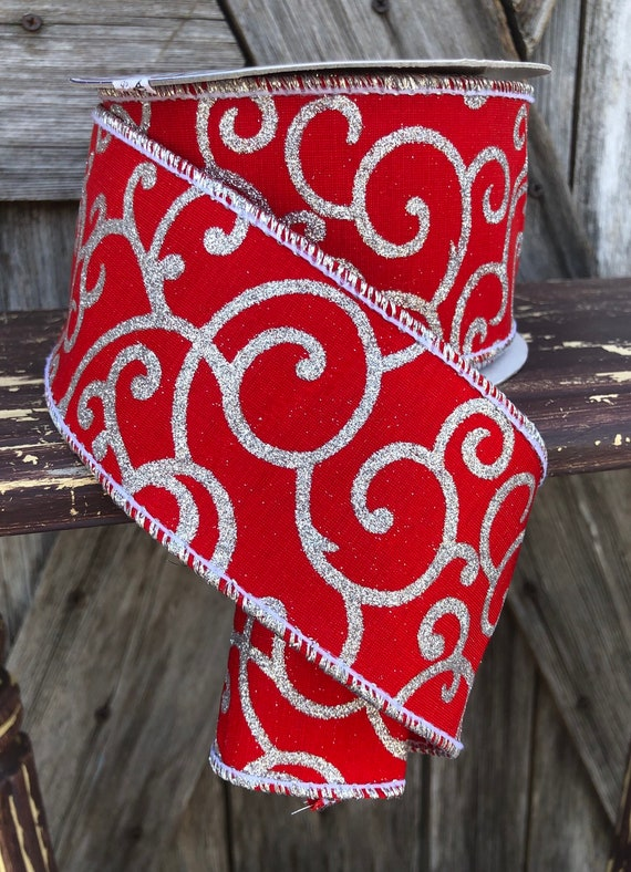 Wired Ribbon ~ 2 1/2 Inch Ribbon ~ Red and Silver Ribbon ~ 3 Yards