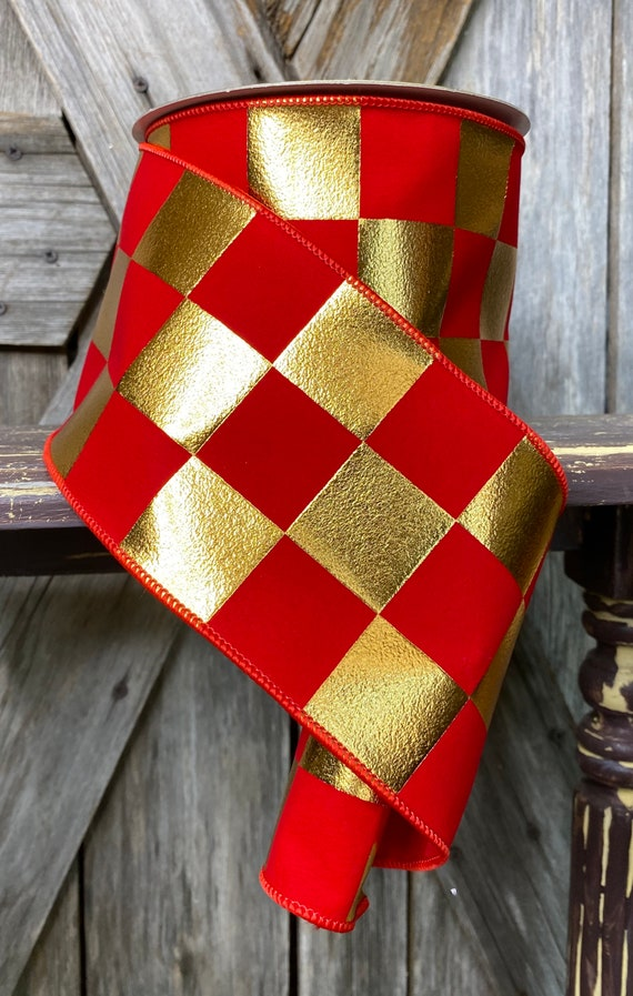 10 Yards, Wired Ribbon, Red Gold Check