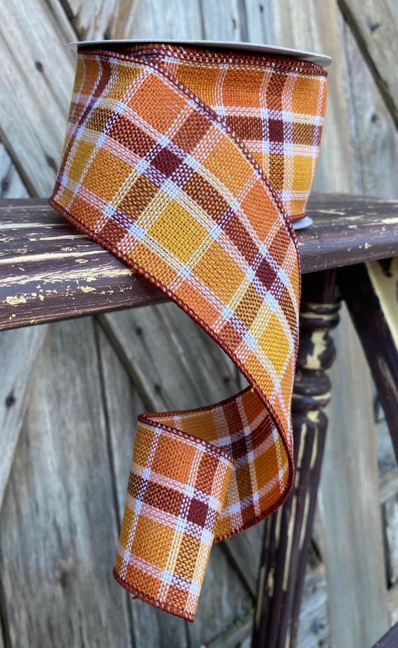 10 Yards, Wired Ribbon, Candy Corn Plaid