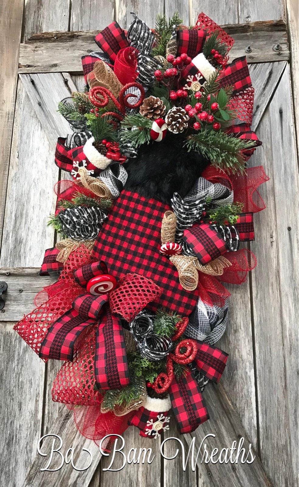santa wreath rustic christmas red black christmas decor classic christmas christmas swag christmas wreath christma