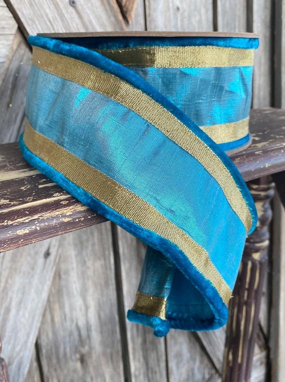 5 Yards, Wired Ribbon, 2.5 Velvet Edge Turquoise Ribbon