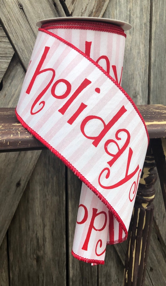 10 Yards, Wired Ribbon ~ 4 Inch Ribbon ~ Red and White Ribbon