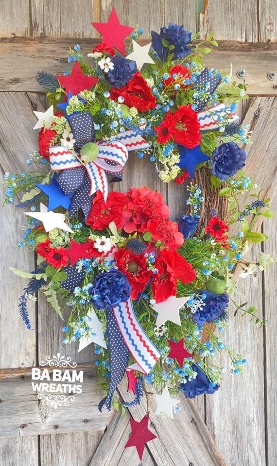Patriotic Wreath for Front Door - Summer Wreath - Front Door Wreaths