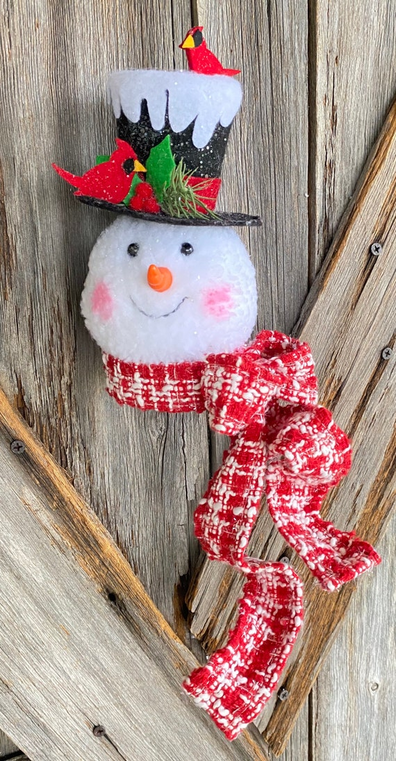 Cardinal Snowman Plush 7.5 Inch, Snowman Wreath Attachment