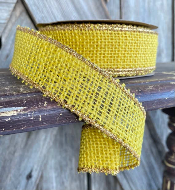 Wired Ribbon ~ 1.5 Inch Ribbon ~ Yellow Burlap with Gold Edge ~ 10Yards