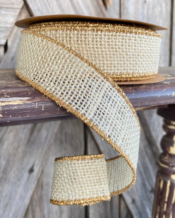 Wired Ribbon ~ 1.5 Inch Ribbon ~ Ivory  Burlap with Gold Edge ~ 10Yards