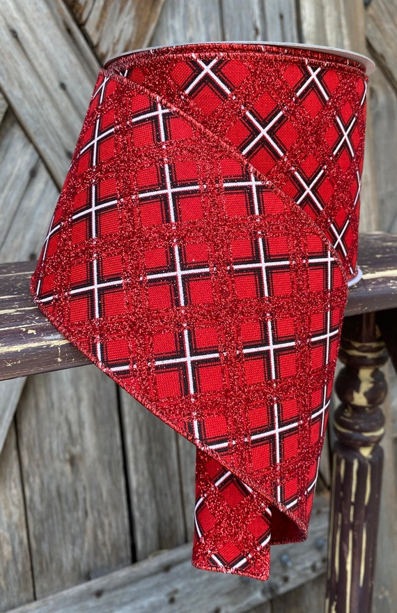 Wired Ribbon ~ 4 Inch Ribbon ~ Red Black Lattice