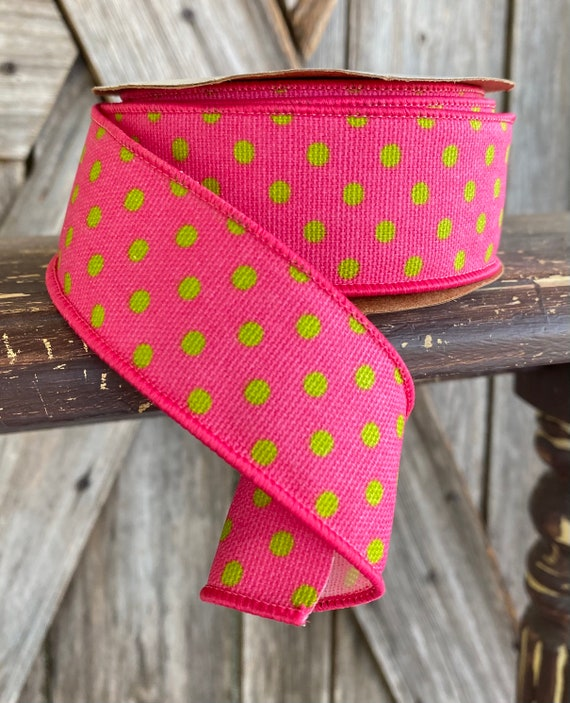 Wired Ribbon ~ 1.5 Inch Ribbon ~ Pink and Green Polka Dot ~ 10Yards