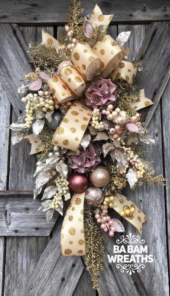 Vintage Christmas Decor, Champagne Christmas, Christmas Swag, Christmas Wreath, Christmas Door Hanging, Holiday Swag