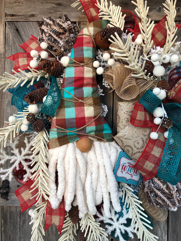 Gnome Wreath  Christmas Gnome Wreath  Winter Wreath  Gnome Decor  Rustic Christmas