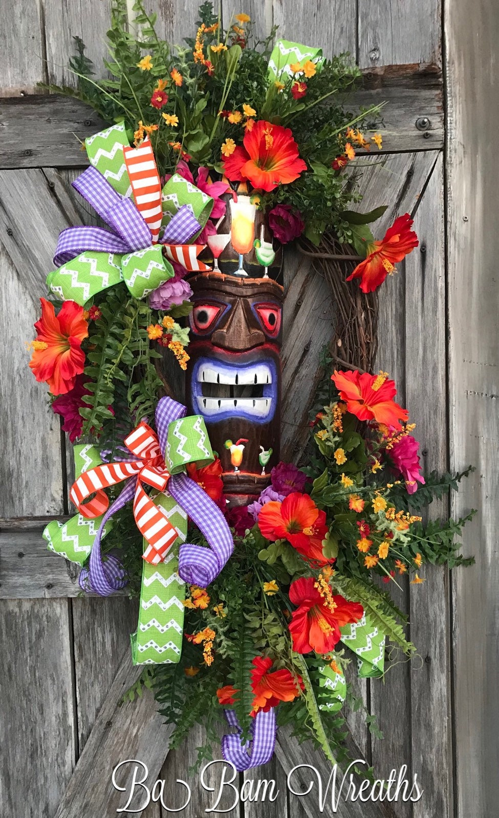 Tiki Wreath Tropical Wreath Beach Wreath For Front Door Summer