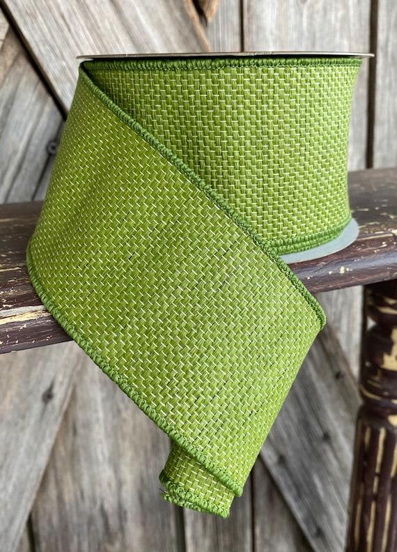 Wired Ribbon ~ 2.5 Inch Ribbon ~ Green Textured Ribbon ~ 10 Yards