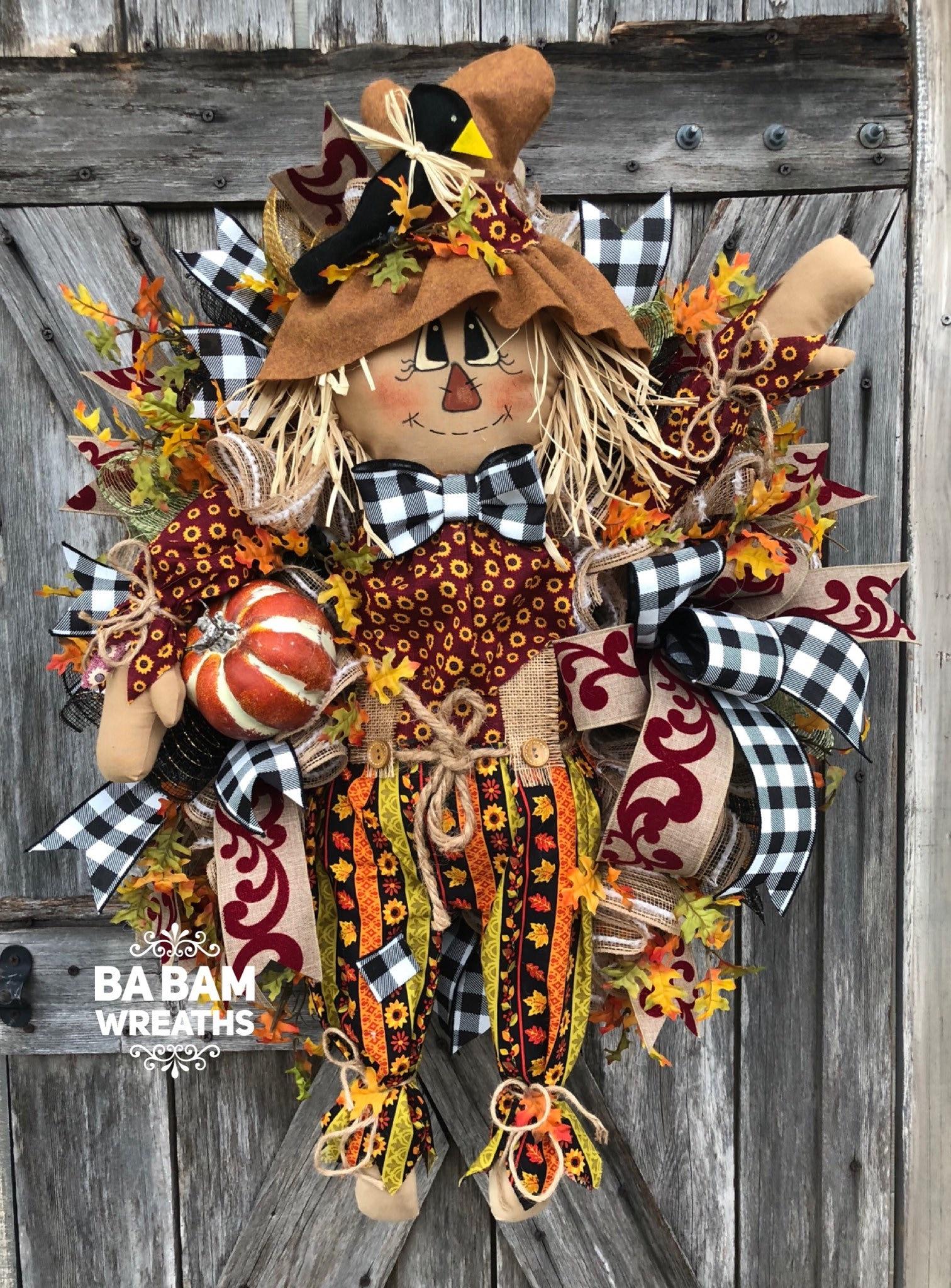 Fall Wreath Autumn Wreath Scarecrow Wreath Halloween Wreath Burlap Wreath Pumpkin Wreath