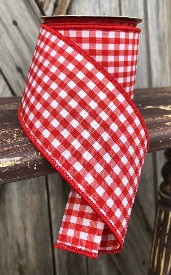 10 Yards, Wired Ribbon, Gingham Red