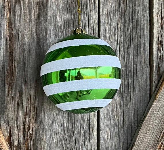 Green Stripe Shatterproof Ornament