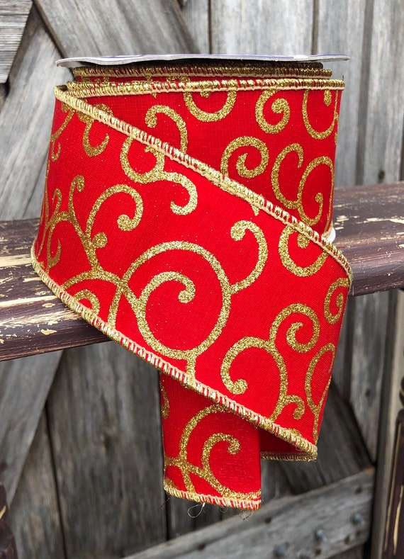 Wired Ribbon ~ 2 1/2 Inch Ribbon ~ Red and Gold Ribbon ~ 3 Yards