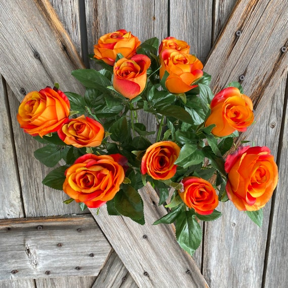 Orange Rose Bush, Wreath Supply, Floral