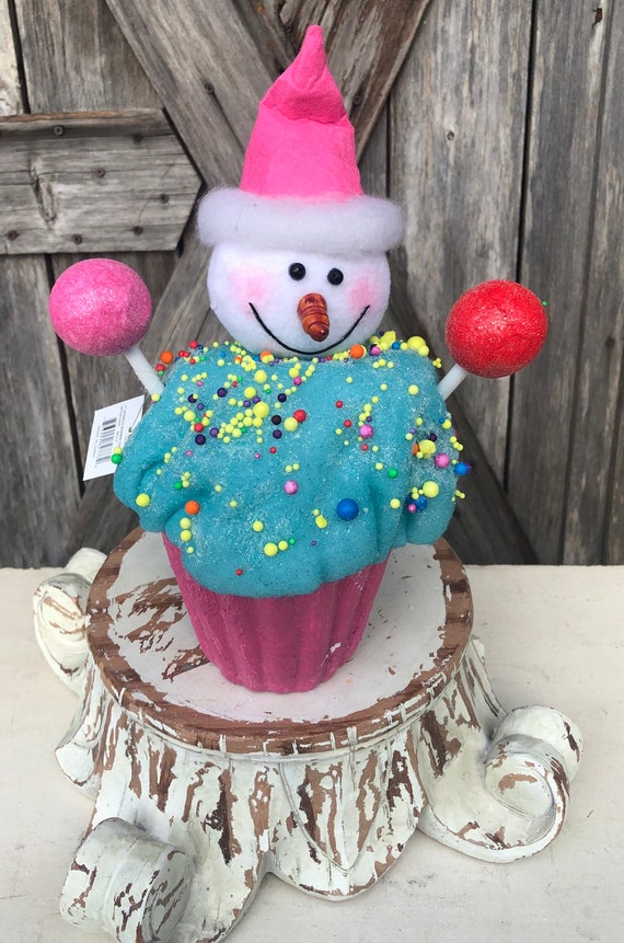 Snowman Cupcake Ornament 11 inches