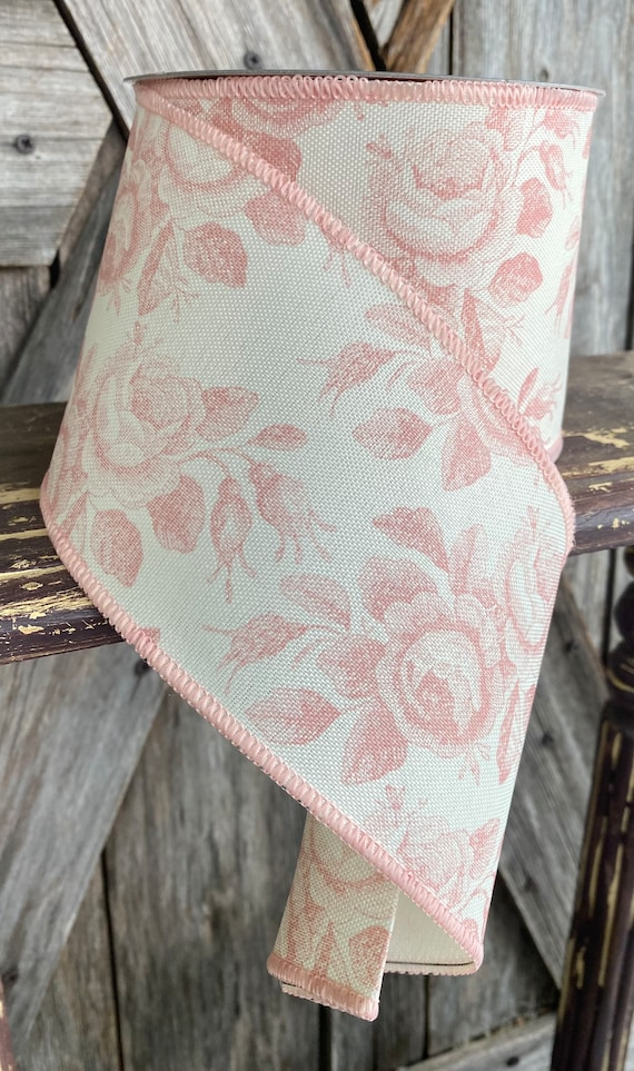 Wired Ribbon ~ 4 Inch Ribbon ~ Pink Florals  ~ 10 Yards