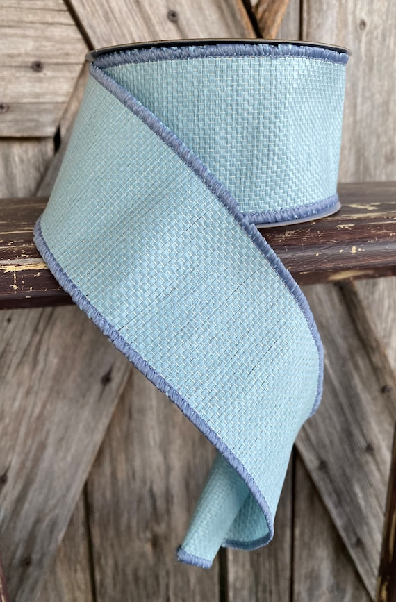 Wired Ribbon ~ 2.5 Inch Ribbon ~ Light Blue Textured Ribbon ~ 10 Yards