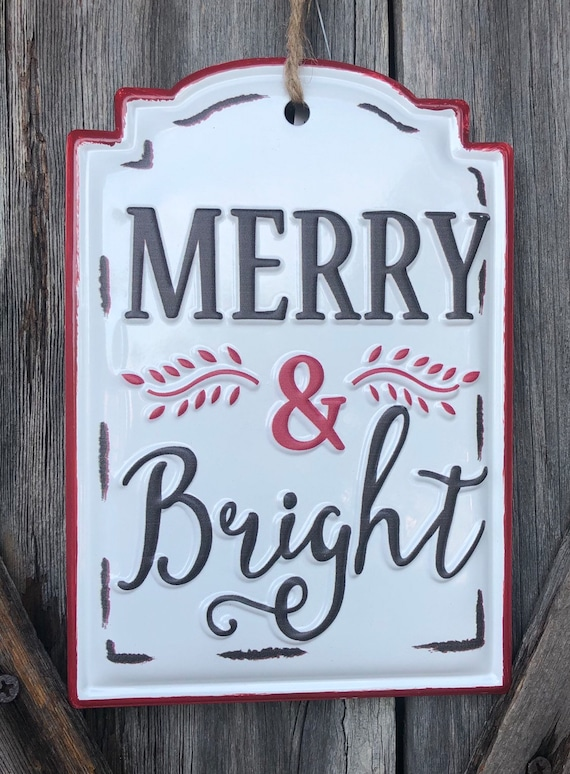 Merry & Bright metal sign