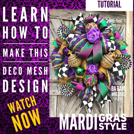 How To Video, How To Wreath, Wreath Tutorial, Mardi Gras Wreath, Mesh Wreath