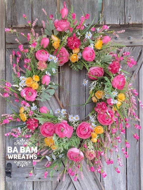 Wildflower Wreath, Spring Floral, Spring Decor, Floral Wreath, Natural Wreath, Burlap Wreath, Summer Wreath