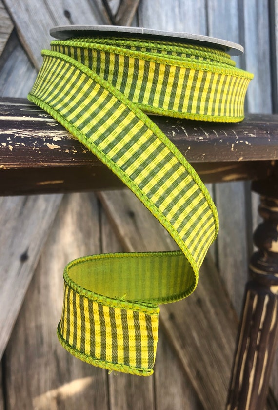Wired Ribbon ~ 1 Inch Ribbon ~ Lime Stripe ~ 10 Yards