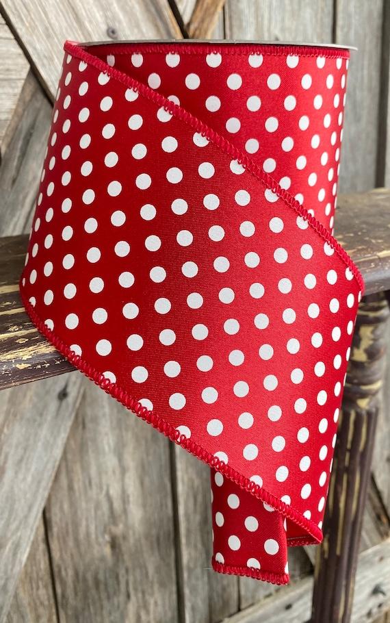 Wired Ribbon ~ 4 Inch Ribbon ~ Red Polkadot  ~ 10 Yards