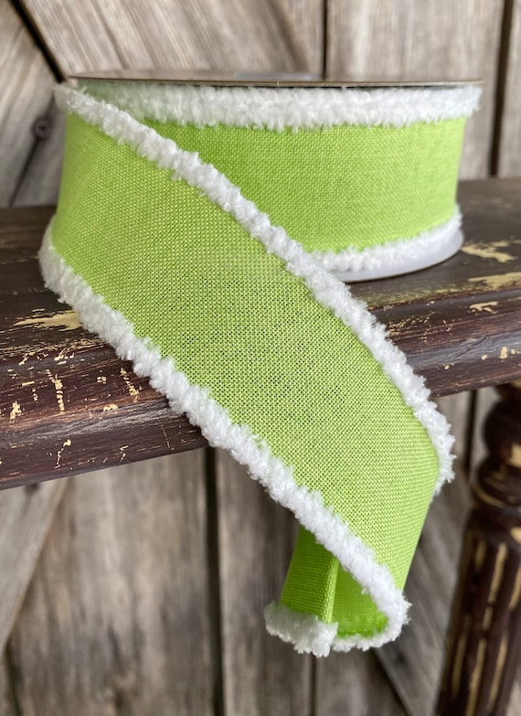 Wired Ribbon ~ 1.5 Inch Ribbon ~ Green with White Edge ~ 10Yards