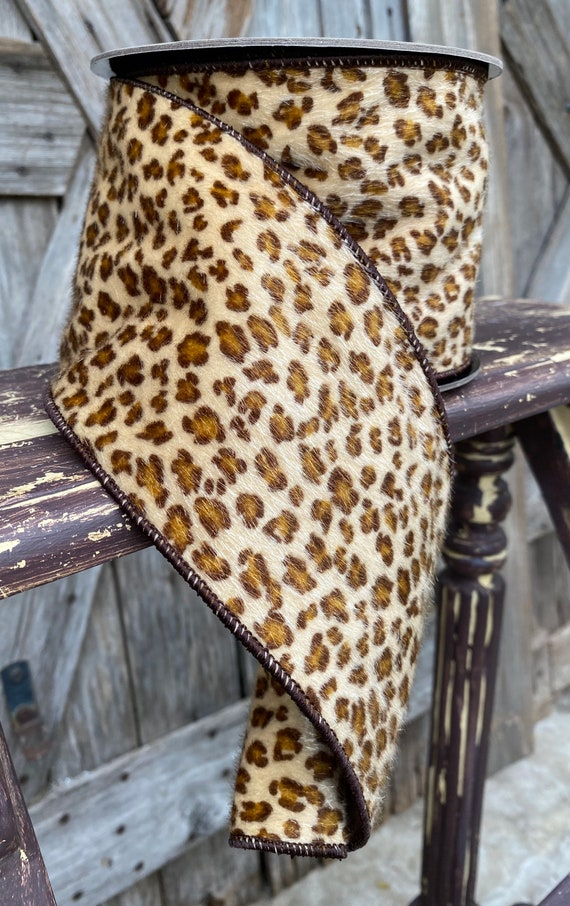 10 Yards, Wired Ribbon, 4 Inch Faux Hair Cheetah