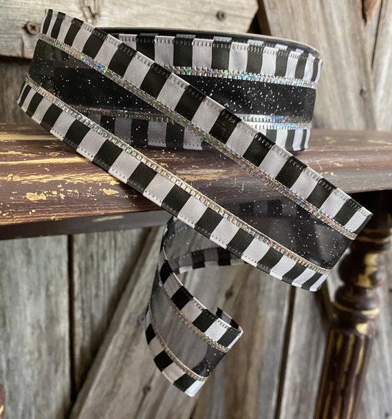 25 Yards, Wired Ribbon, Black White Checkered Edge