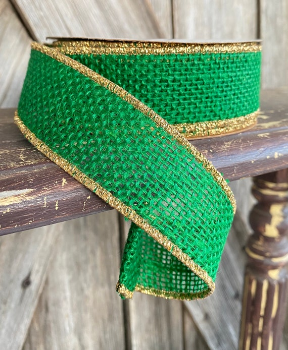 Wired Ribbon ~ 1.5 Inch Ribbon ~ Emerald Burlap with Gold Edge ~ 10Yards