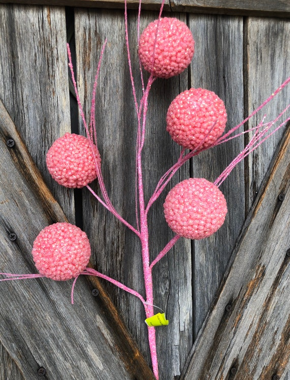 Pink Pom Pom Spray, Wreath Supply, Floral