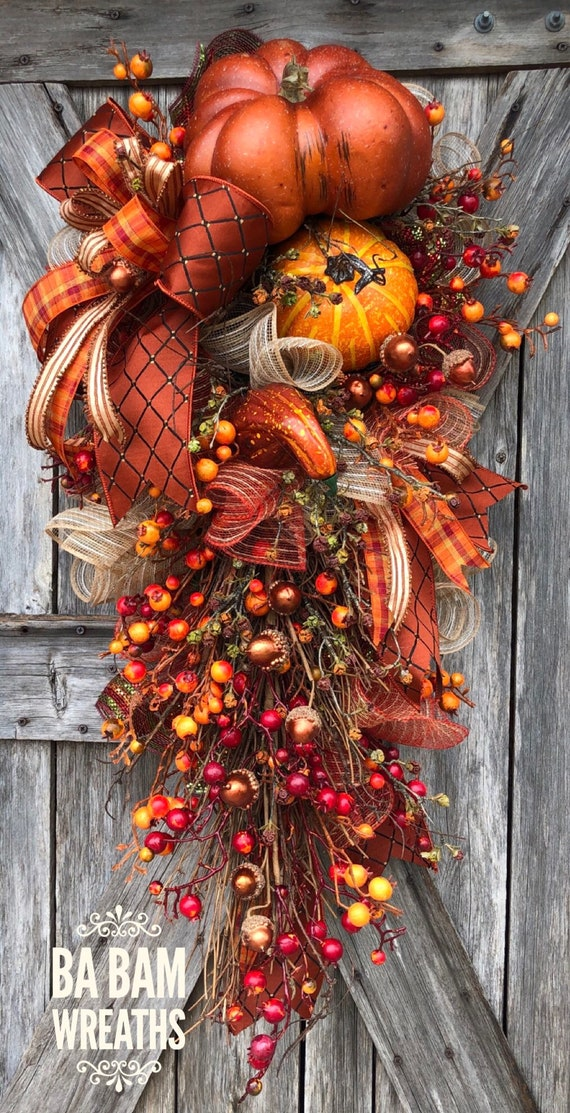 Fall Wreath, Fall Swag, Autumn Swag, Autumn Wreath, Rustic Fall Wreath, Thanksgiving Wreath, XL Fall Wreath